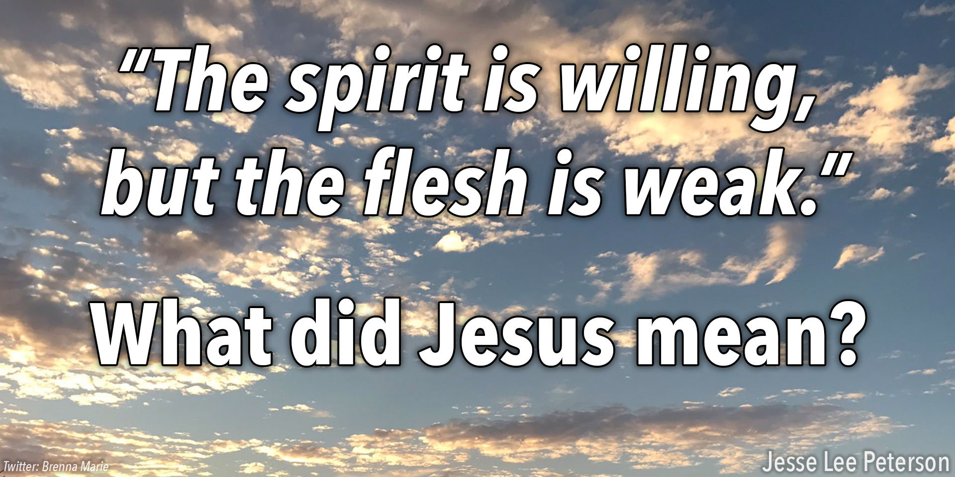 "Biblical Question: ""The Spirit is willing but the flesh is weak"""