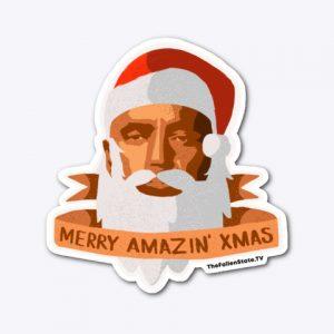 Die-cut Sticker: Merry Amazin' Christmas (cartoon Santa Jesse)
