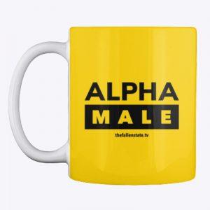 Alpha Male (Black ink, colored background mug)